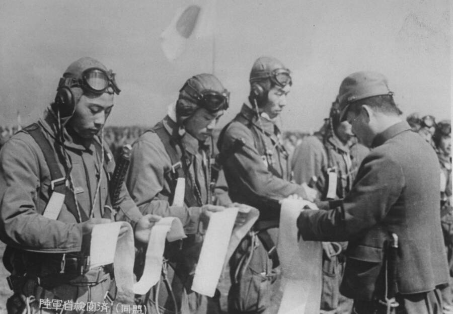 Kamikaze Pilots Receiving Headbands