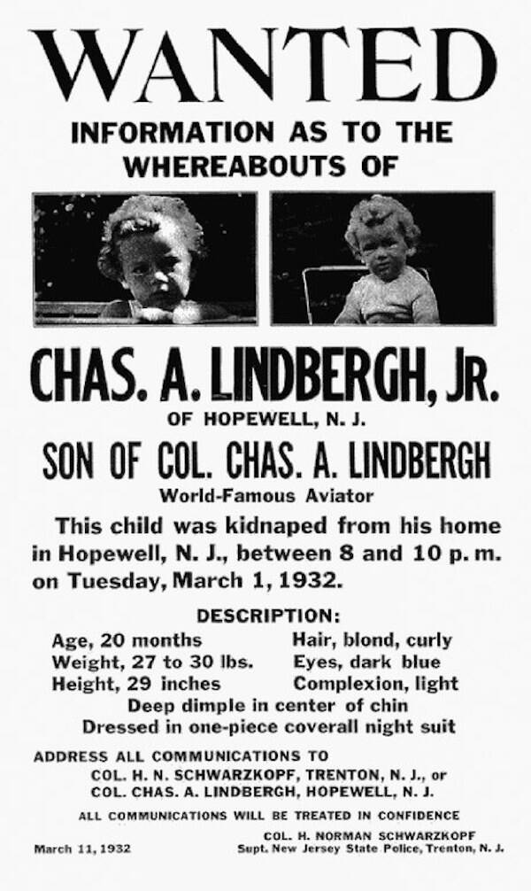 Lindbergh Baby Kidnapping Wanted Poster