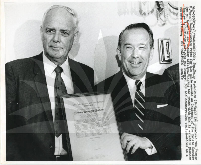 Lindbergh Receiving A Conservation Prize