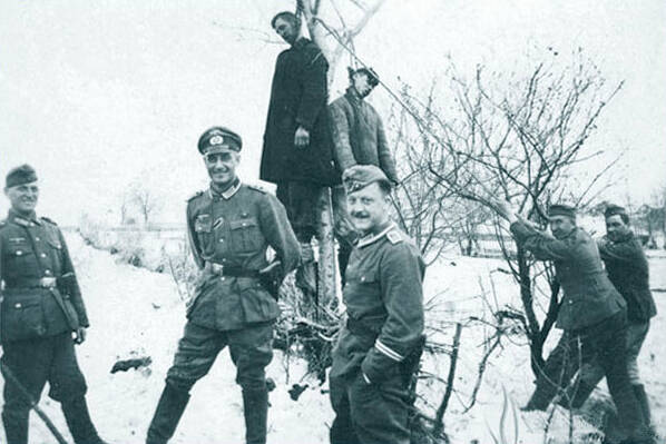Men Hanging From Tree In Operation Barbarossa