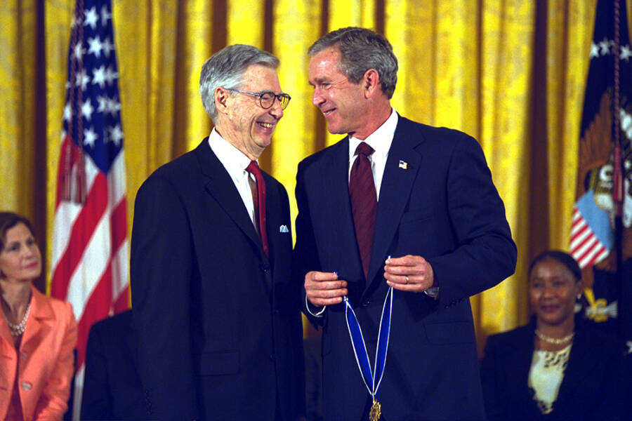Mister Rogers Receives The Medal Of Freedom From President George W Bush