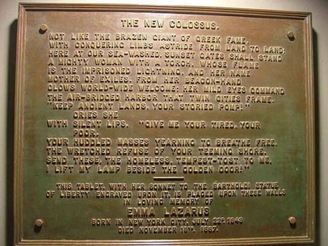 New Colossus Plaque On The Statue Of Liberty