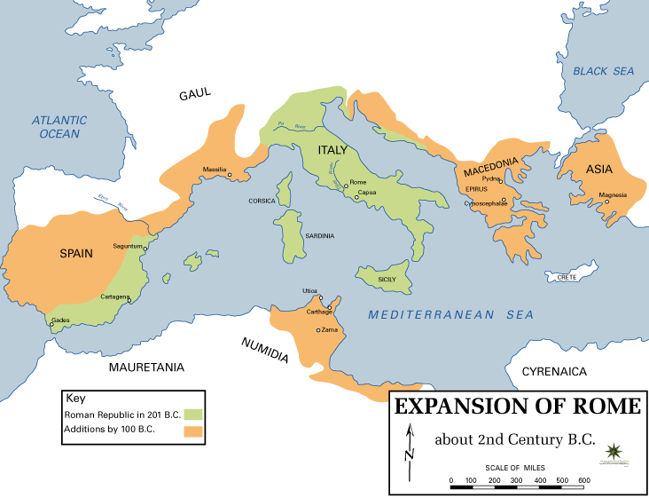Map Of The Roman Republic During Spartacus's Life