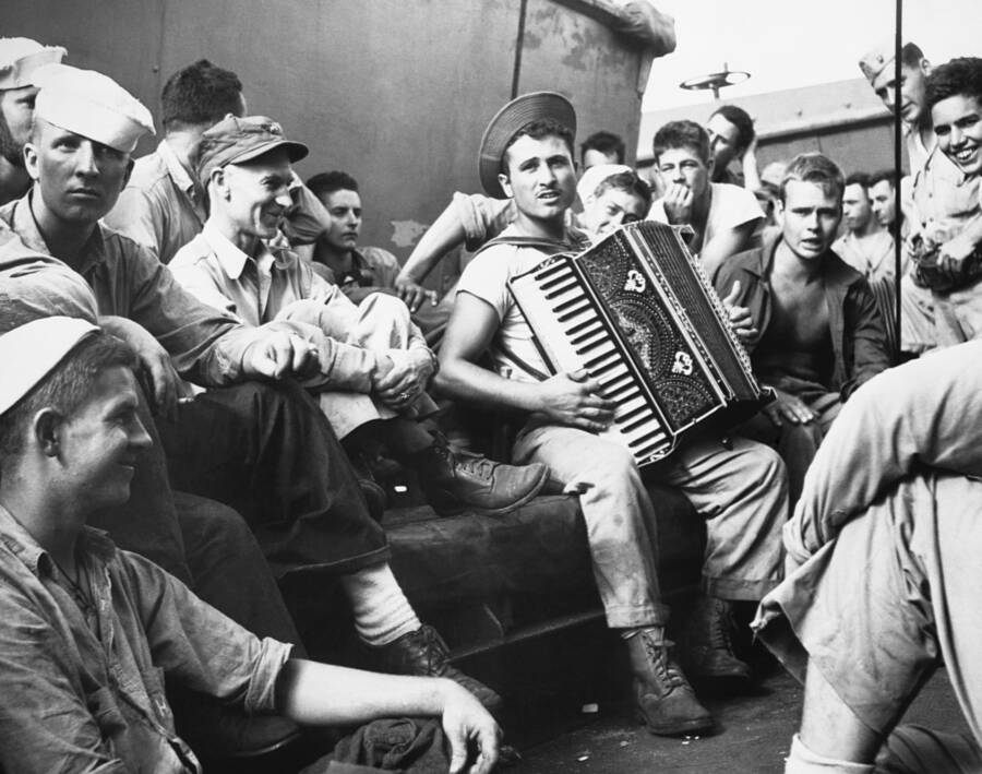 American Soldier Plays The Accordion