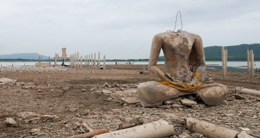 Thailand's Drought Reveals A Sunken Buddhist Temple Submerged For 20 Years