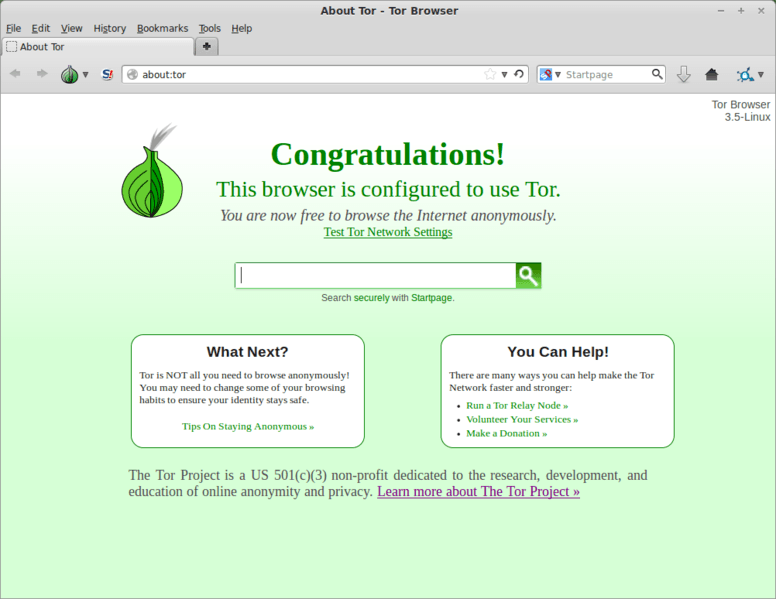 Tor Browers Homepage