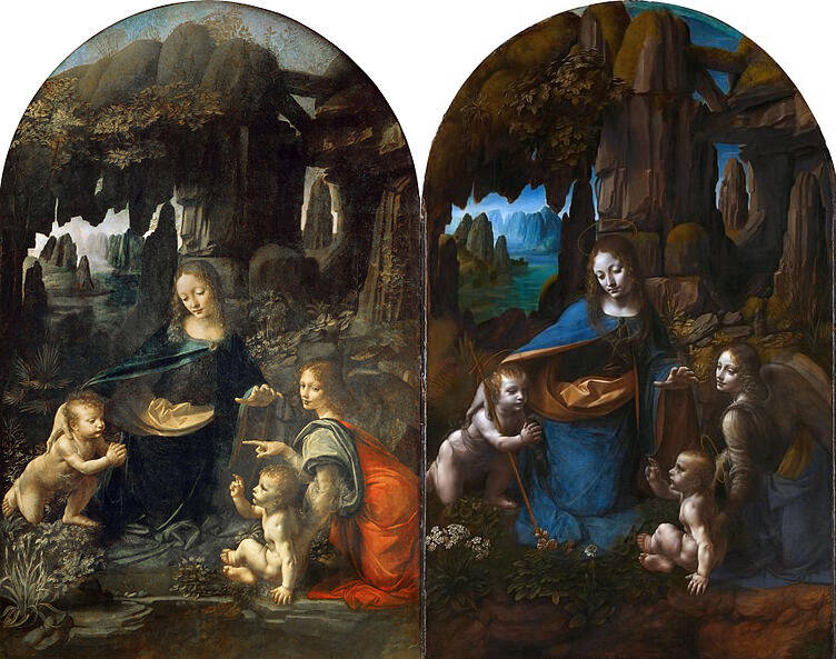 Both Version Of The Painting The Virgin Of The Rocks