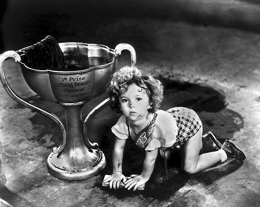 Baby Shirley Temple Cleaning Floor