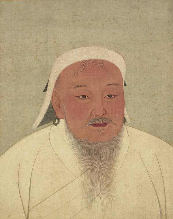 Pastel Portrait Of Genghis Khan