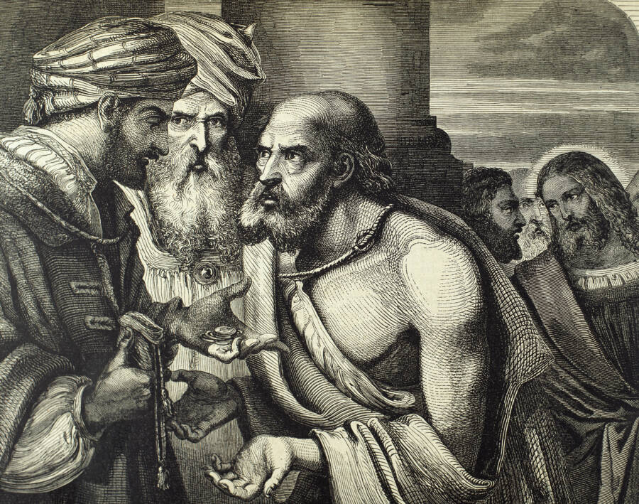 Judas Being Paid His Pieces Of Silver