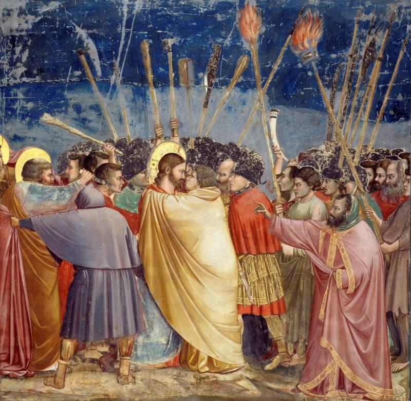 Judas Kisses Jesus Gently