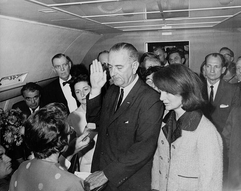 Lyndon Johnson Being Sworn In On Air Force One