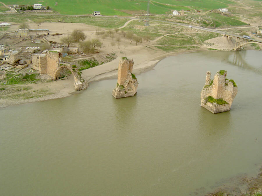 Remains Of The Ancient Hasankeyf Bridge In Tigris