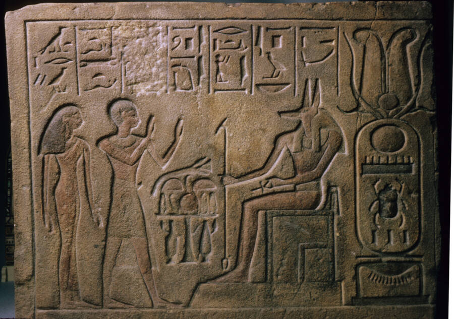 Tablet Of People Worshipping Anubis