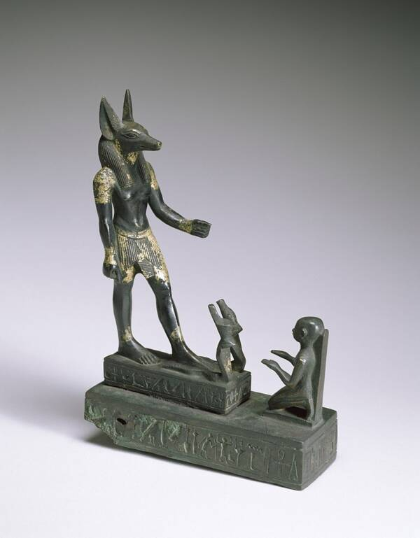 Status Of Worshiper Kneeling Before Anubis