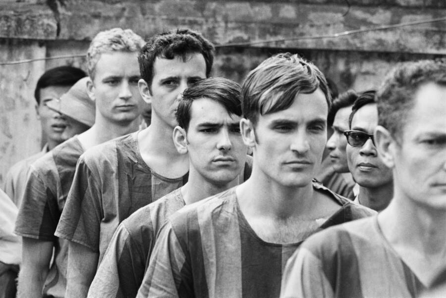American Prisoners Line Up At The Hanoi Hilton In 1973