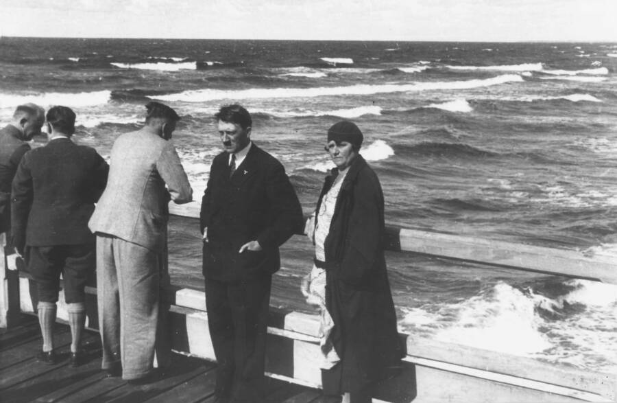 Hitler Beside Angela Hitler On A Dock