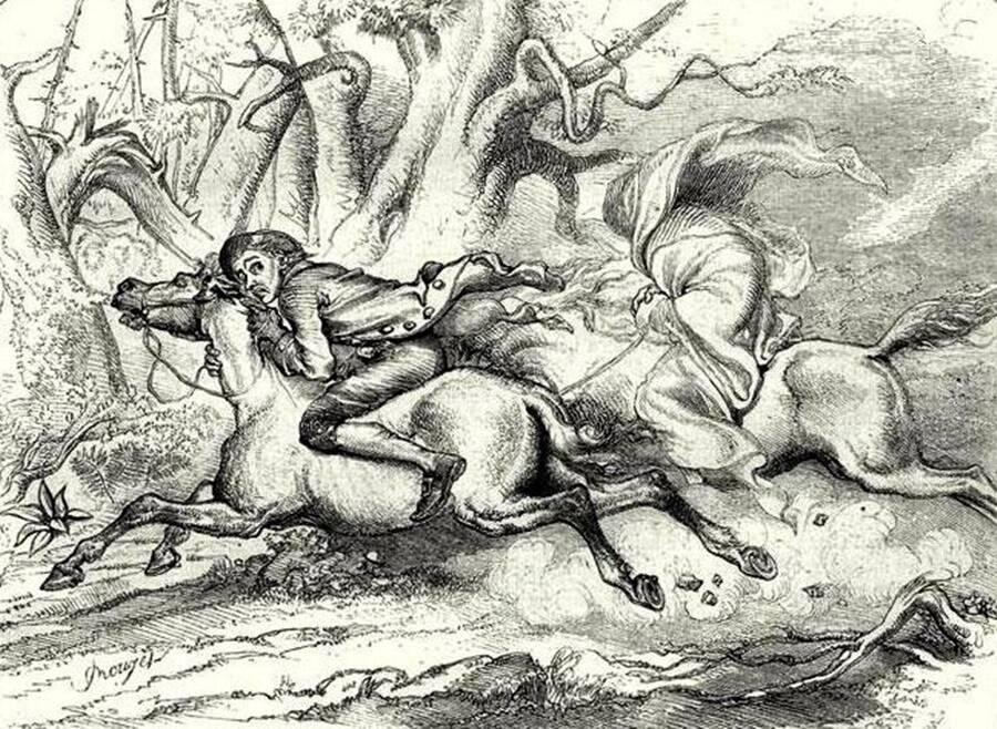 Ichabod Crane Chased By Headless Horseman
