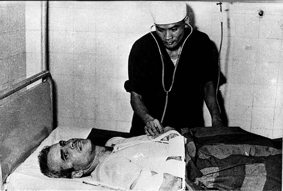 John Mccain On A Hospital Bed In Hanoi