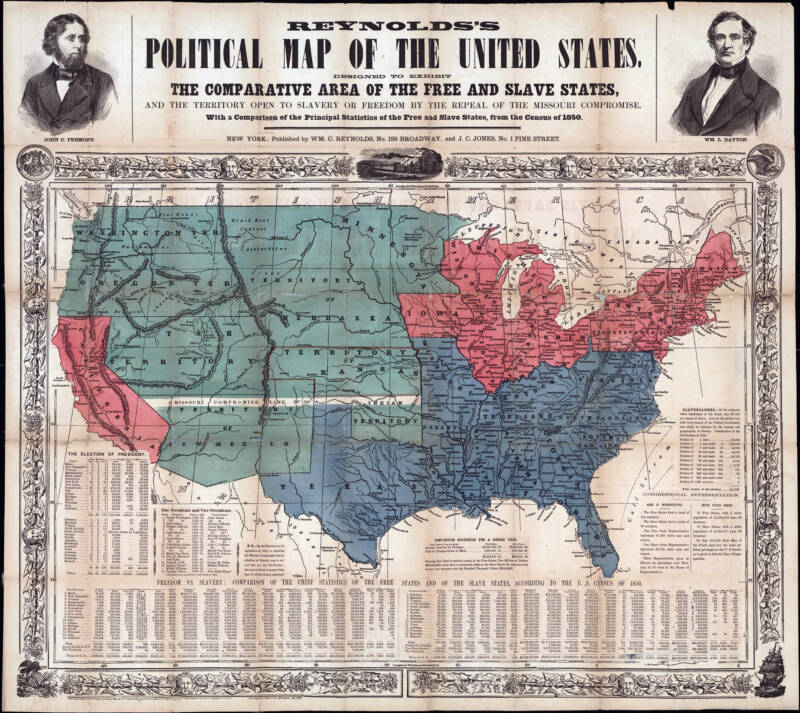 Map Of Free And Slave States In 1850