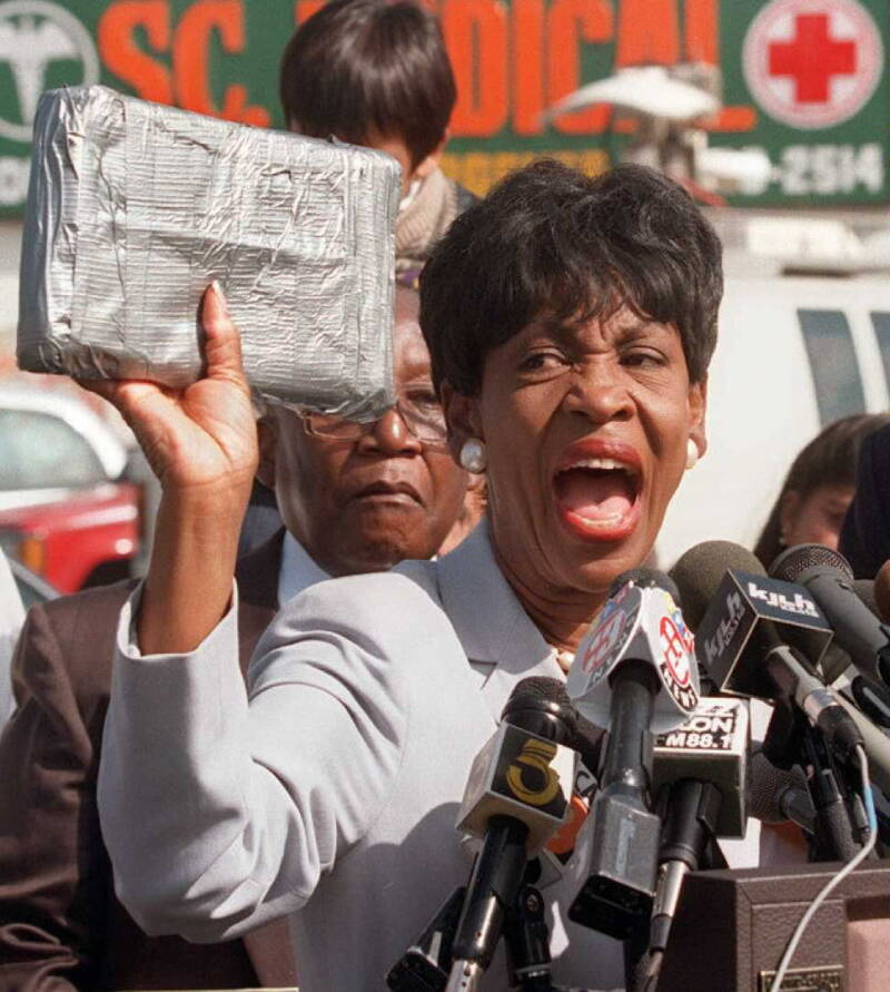 Maxine Waters Holding A Brick Of Cocaine