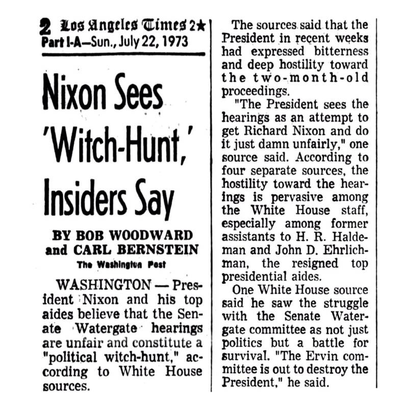 Nixon Witch Hunt Headline