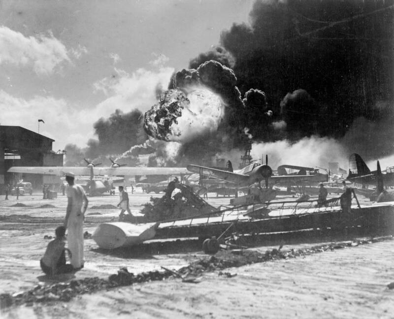 Pearl Harbor Burning Aircraft