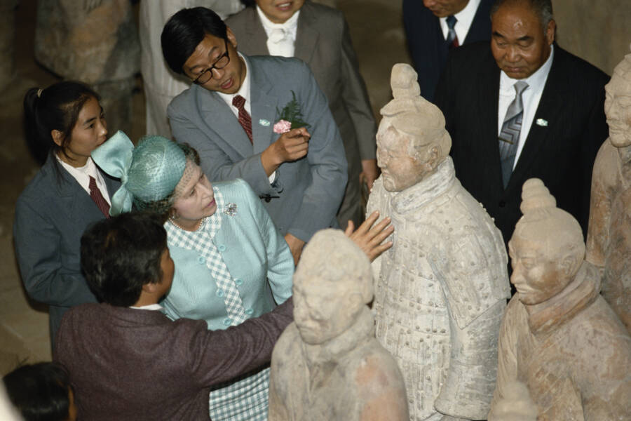 Queen Elizabeth II Observes Terracotta Soldiers