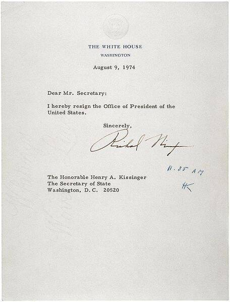 Richard Nixon Letter Of Resignation