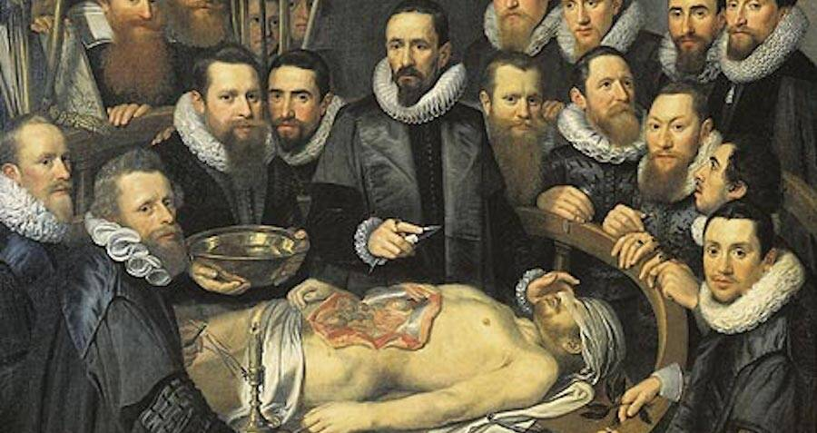 Drawing Of 17th-Century Anatomy Lesson
