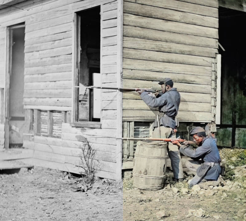 Colorized Photo Of Black Soldiers At Dutch Gap