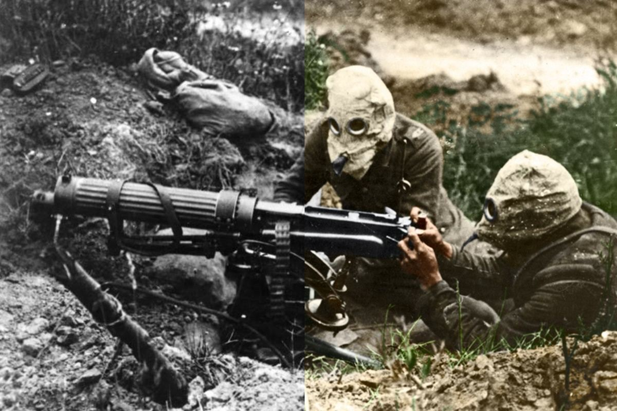 Half-Colorized Photo Of WWI Soldiers Shooting