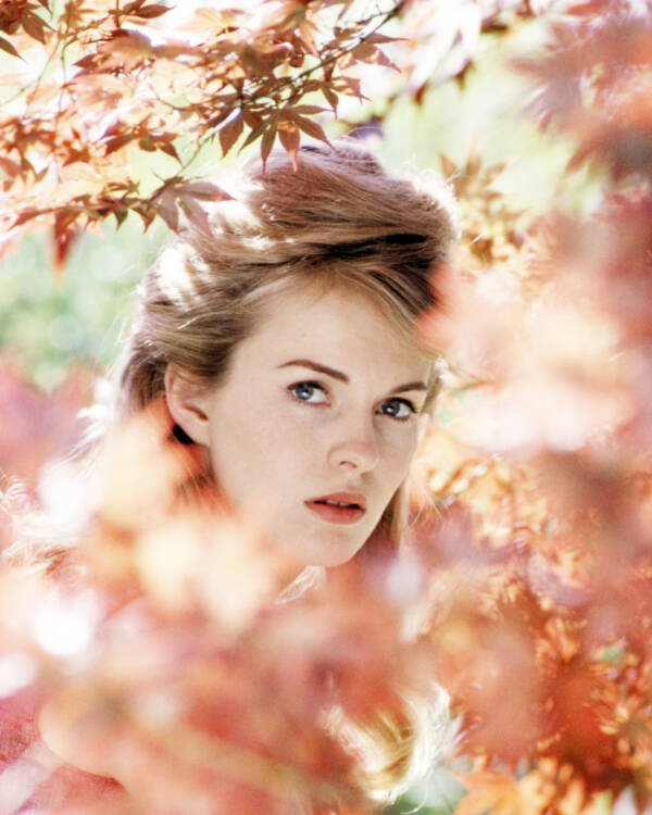 Headshot Of Jean Seberg Behind Tree