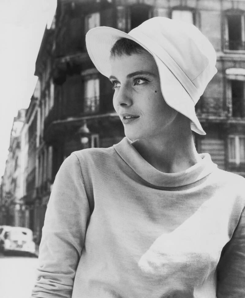 Jean Seberg Looks Off In A Hat