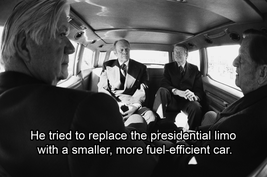 Jimmy Carter And Gerald Ford In A Limo