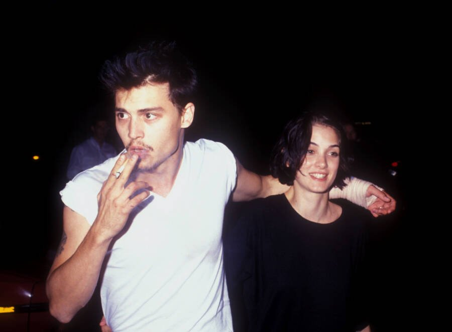 Johnny Depp Smoking With Winona Ryder