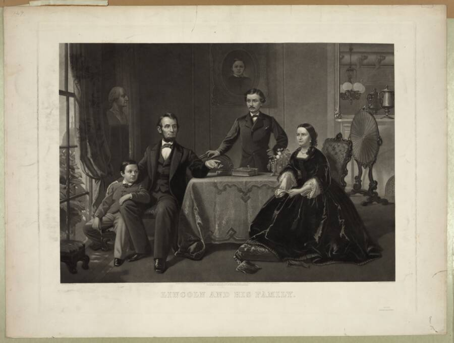 Lincoln And Family Around Table