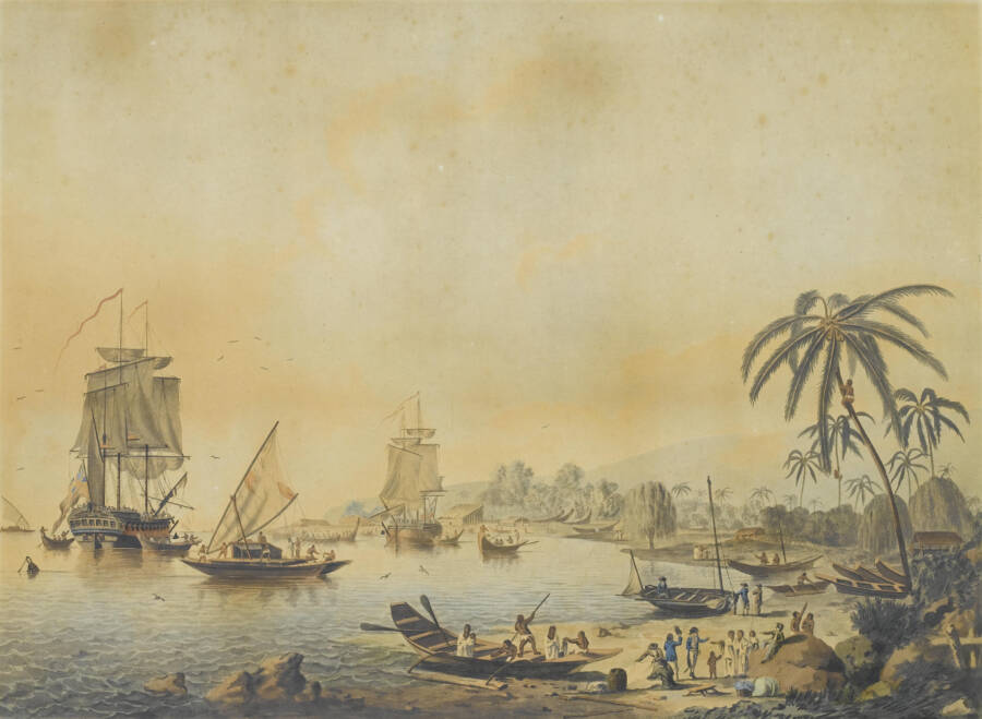 Resolution And Discovery Ships In Tahiti