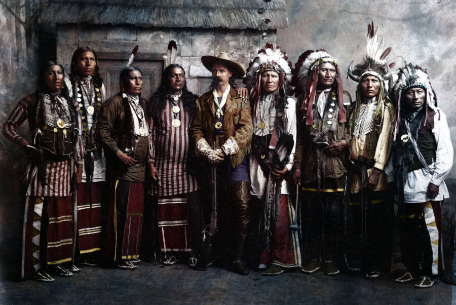 Old West Photo Of Buffalo Bill And Native Americans