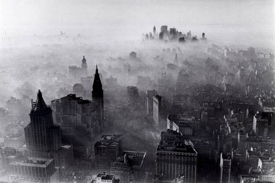 Aerial View Of New York City Smog