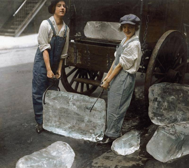 Colorized Black And White Photo Of Women Delivering Ice