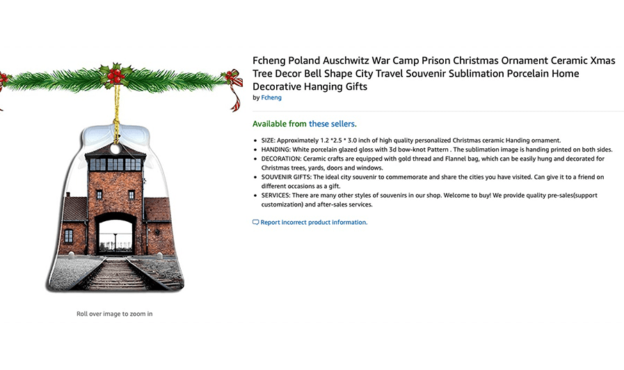 Listing For Auschwitz Ornament