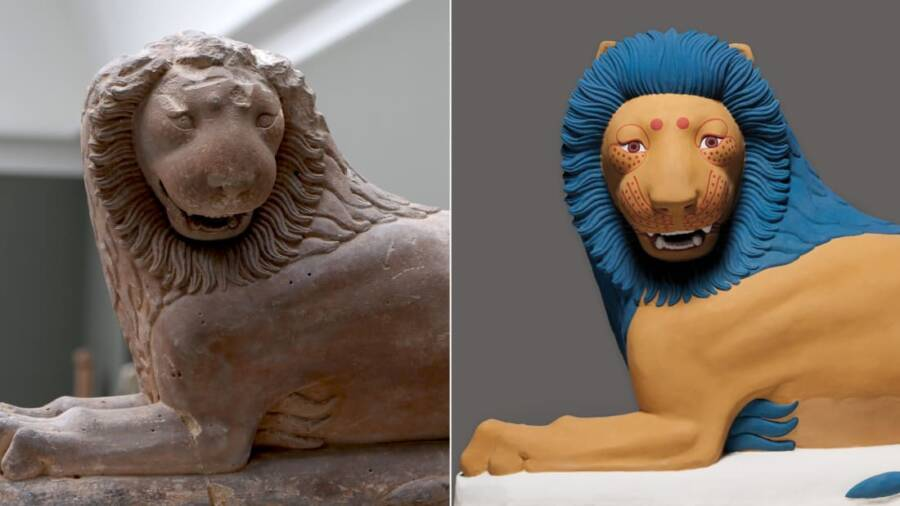 Loutraki Lion In White And Color