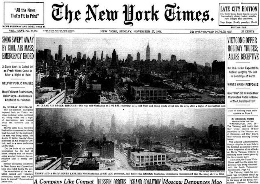 New York Times Front Page About Smog