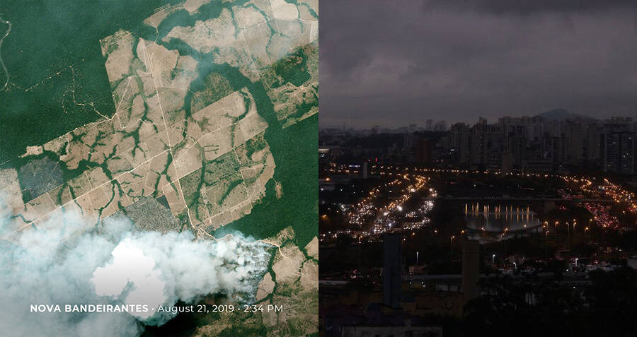 Sao Poalo In Darkness From Amazon Fires