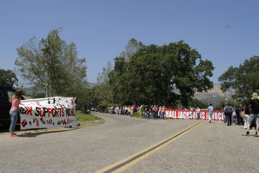 Banners And Fans At Neverland Ranch Entry