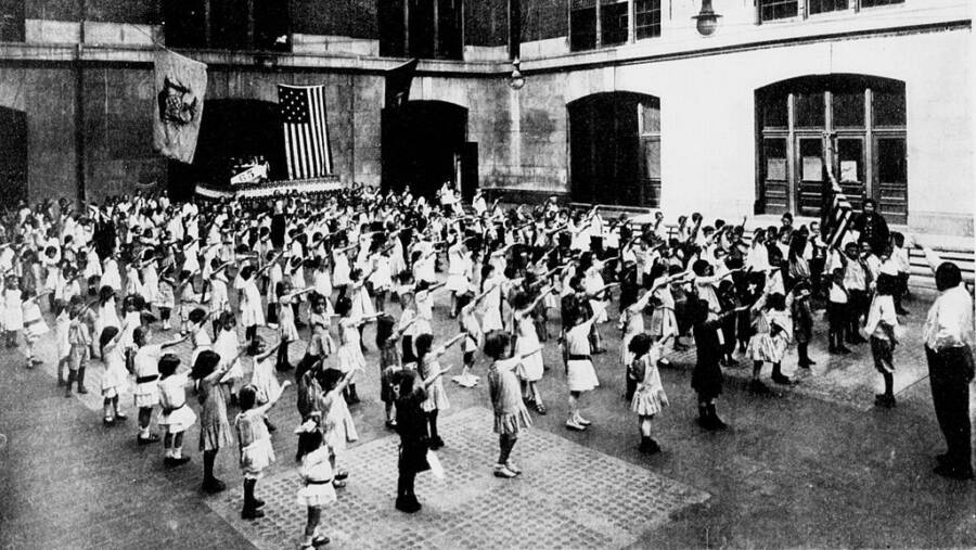 Children Presenting The Bellamy Salute