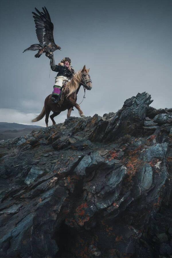 Mongolian Hunter Carrying His Eagle