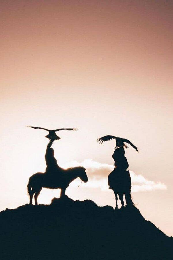 Eagle Hunters At Sunset