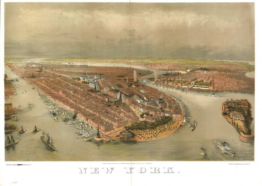 Illustrated Panoramic Map Of New York